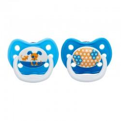 DR. BROWN'S Chupete 6-12 Meses Silicona Prevent 2 Unidades (Azul Perritos)