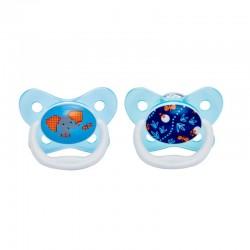 DR. BROWN'S Chupete 6-12 Meses Silicona Prevent 2 Unidades (Azul Elefante))