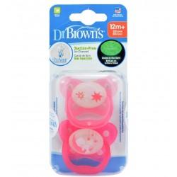 DR. BROWN'S Chupete +12Meses Silicona Noche 2 Unidades (Rosa Estrellas y Osito)