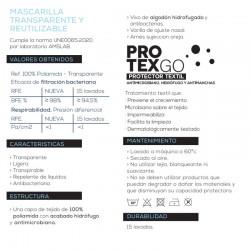 Mascarilla Transparente Homologada Reutilizable Niños (7-12 años) Color Gris 1 Mascarilla - INCA