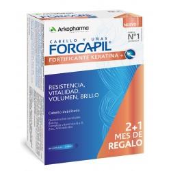 FORCAPIL Fortificante Keratina+ Cabello y Uñas 2+1 de REGALO (180 cápsulas) Arkopharma