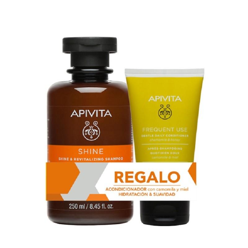 APIVITA Champú Brillo y Vitalidad con Naranja y Miel 250ml + Acondicionador 50 ml de REGALO