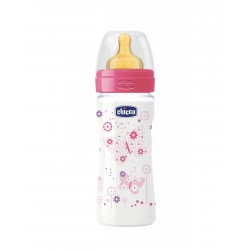 CHICCO Biberon Well-Being Rosa 250ML Latex Flujo Medio