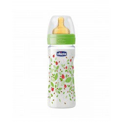 CHICCO Biberon Well-Being Verde 250ML Latex Flujo Medio