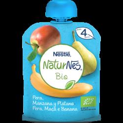 NESTLÉ Naturnes Bio Puré Pera, Manzana y Plátano 90gr