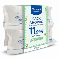 MUSTELA Pack Ahorro Toallitas Limpiadoras Dermo-Suavizantes 4x70uds
